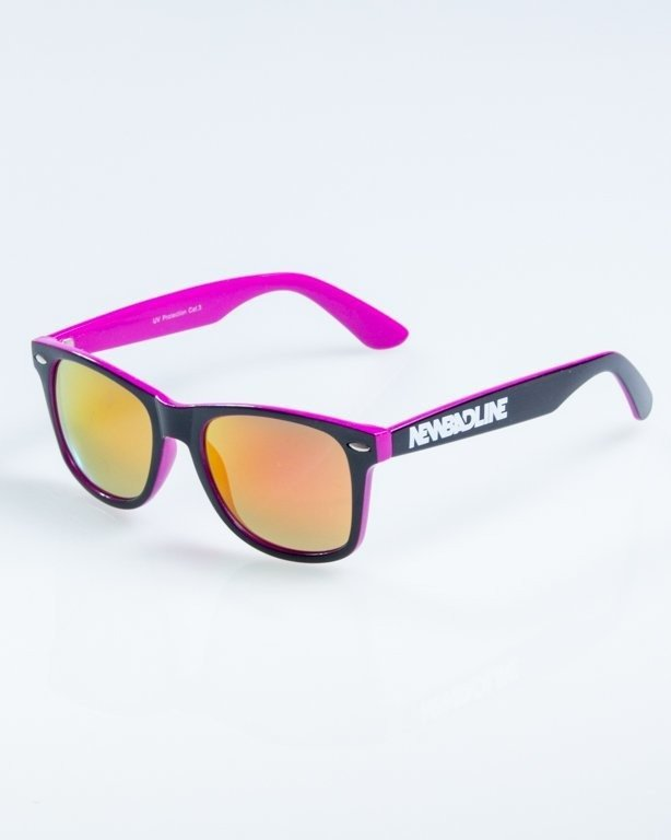 OKULARY CLASSIC INSIDE BLACK-PINK FLASH VIOLET MIRROR 868