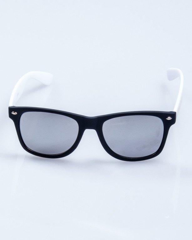 CLASSIC HALF BLACK-WHITE RUBBER SILVER MIRROR 554