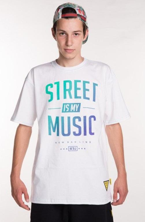 NEW BAD LINE KOSZULKA STREET IS MY MUSIC WHITE