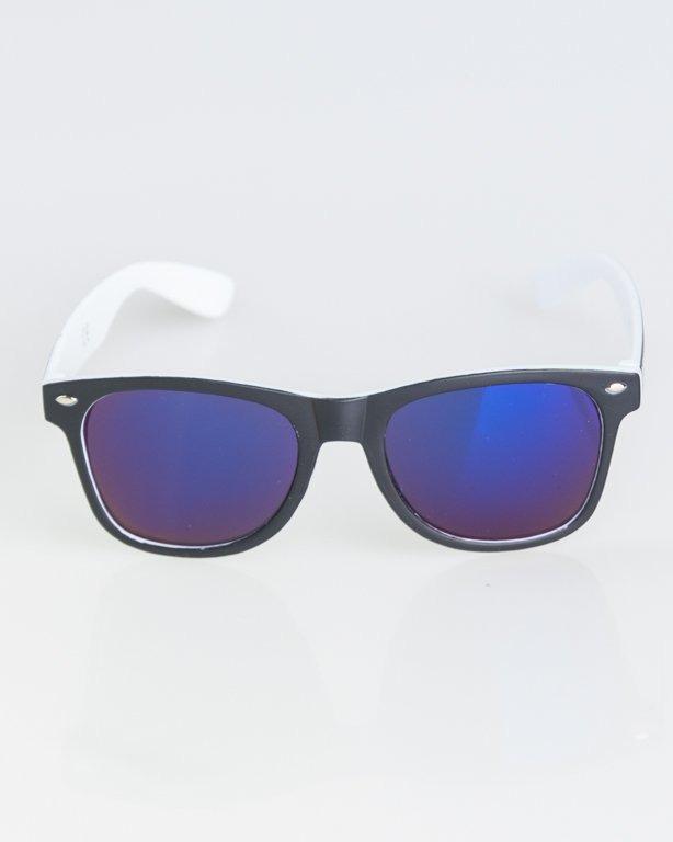 OKKULARY CLASSIC INSIDE BLACK-WHITE MAT BLUE MIRROR 1266
