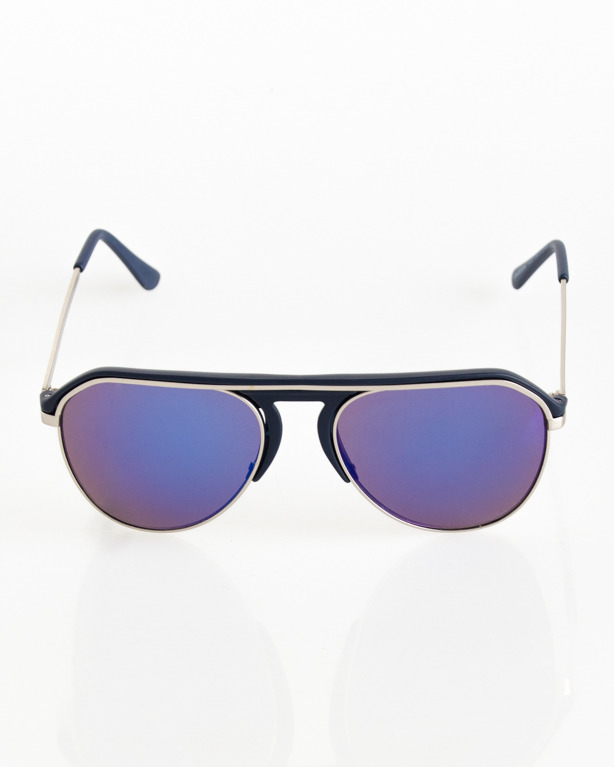 OKULARY ALTERNATIVE SILVER-NAVY MAT BLUE MIRROR 085
