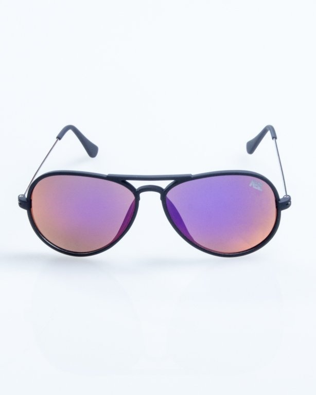 OKULARY AVIATOR TRAVEL BLACK RUBBER VIOLET MIRROR 796
