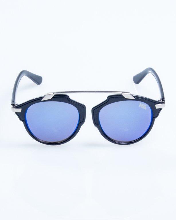OKULARY BAD BLACK-SILVER BLUE MIRROR 816