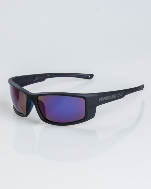 OKULARY BLADE BLACK RUBBER BLUE MIRROR 1236