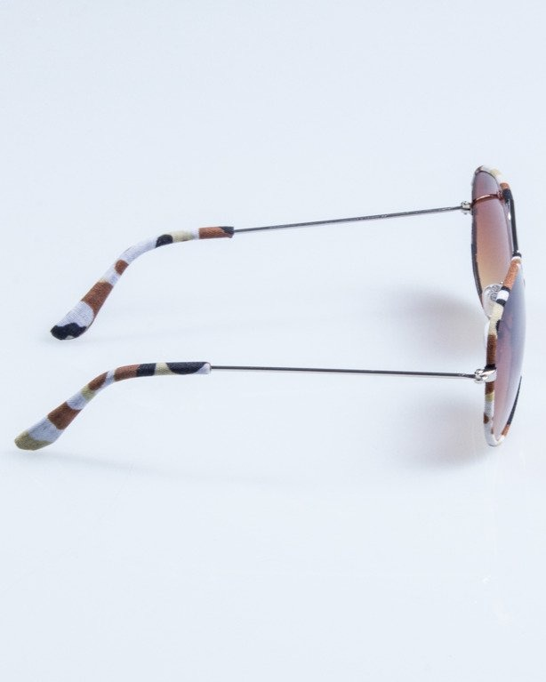 OKULARY CAMO METAL SILVER-BEIGE BROWN 684