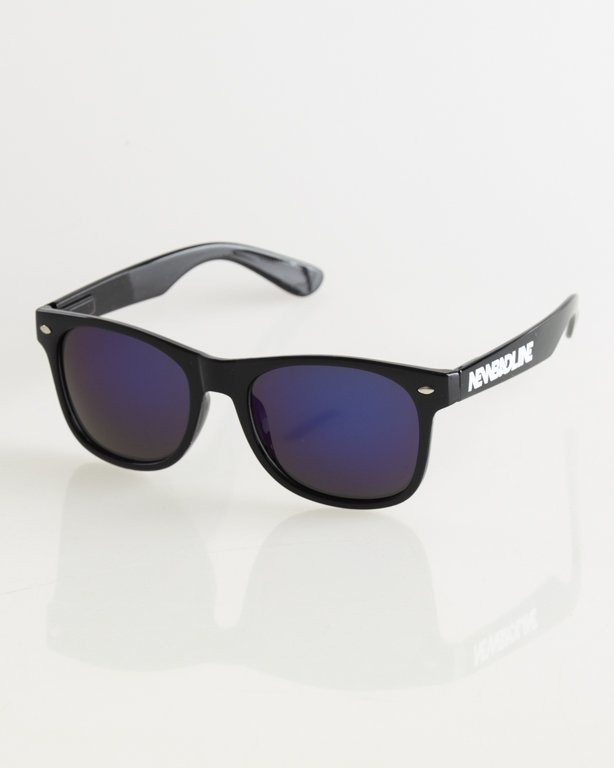 OKULARY CLASSIC BLACK FLASH BLUE MIRROR 016