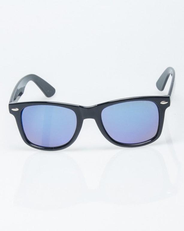 OKULARY CLASSIC BLACK FLASH BLUE MIRROR 1192