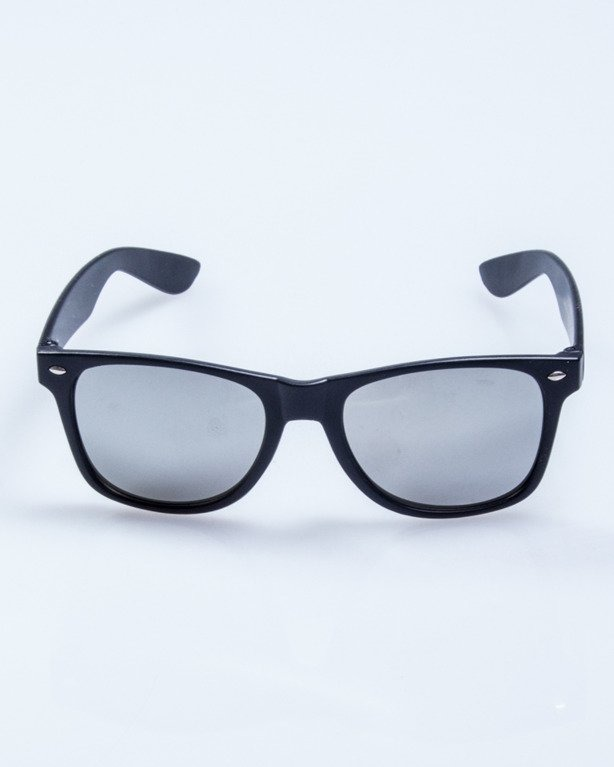 OKULARY CLASSIC BLACK MAT SILVER MIRROR 505