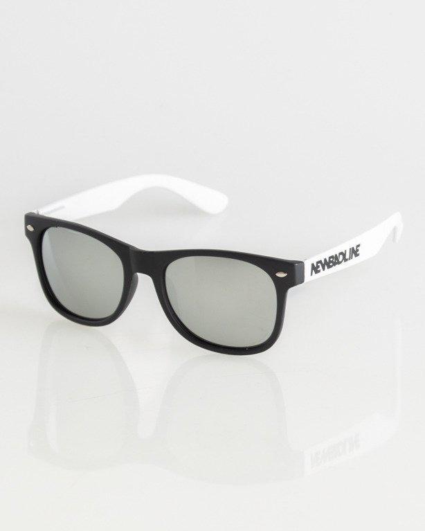 OKULARY CLASSIC BLACK-WHITE MAT SILVER MIRROR 004