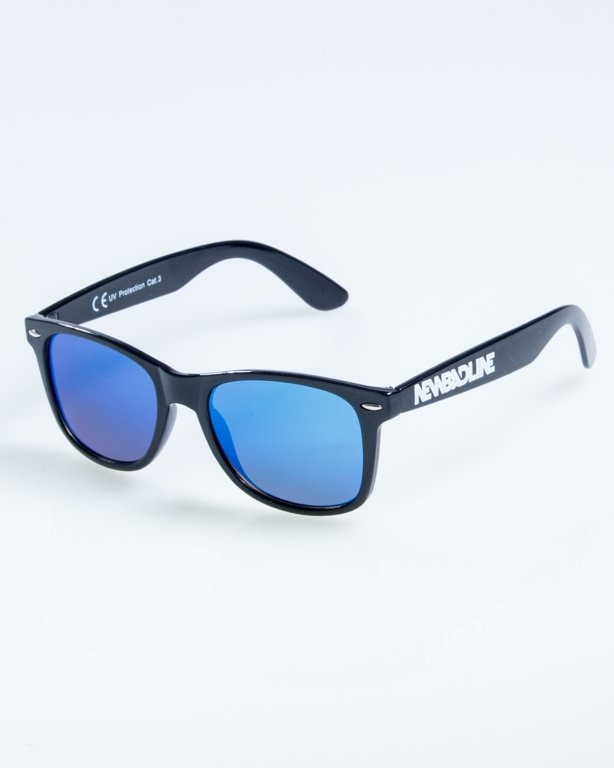 OKULARY CLASSIC FLAT BLACK FLASH BLUE MIRROR 876