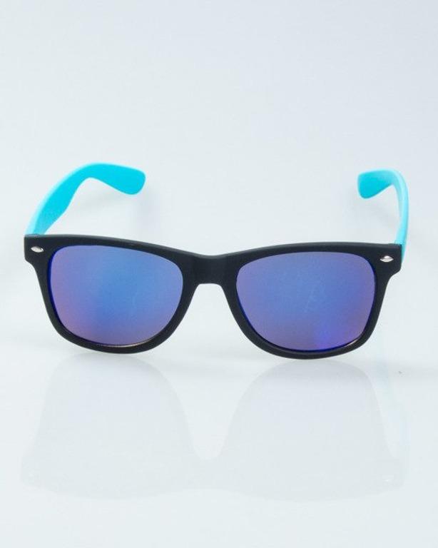 OKULARY CLASSIC HALF BLACK-BLUE RUBBER  BLUE MIRROR 1014