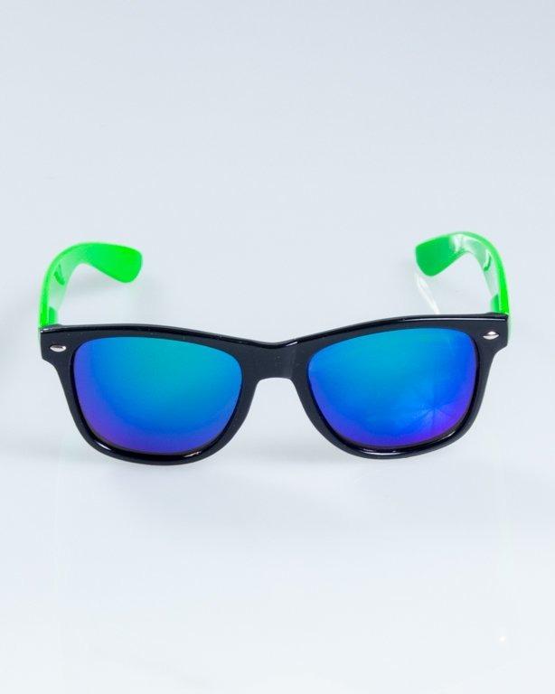OKULARY CLASSIC HALF  BLACK-GREEN FLASH GREEN MIRROR 843