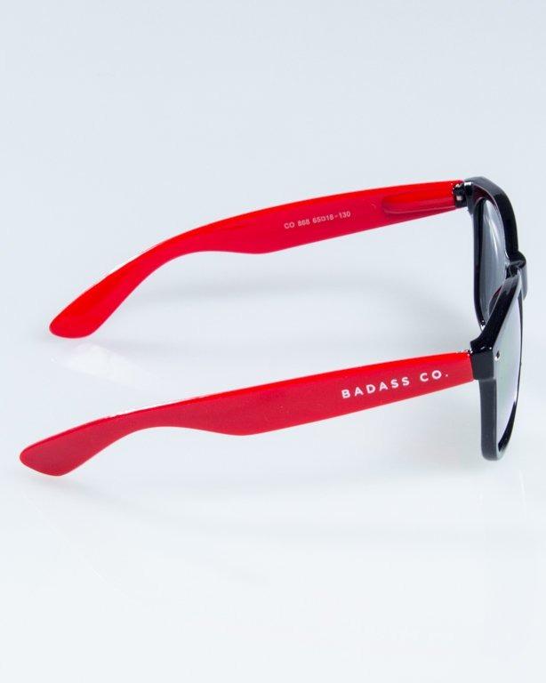 OKULARY CLASSIC HALF  BLACK-RED FLASH RED MIRROR 844