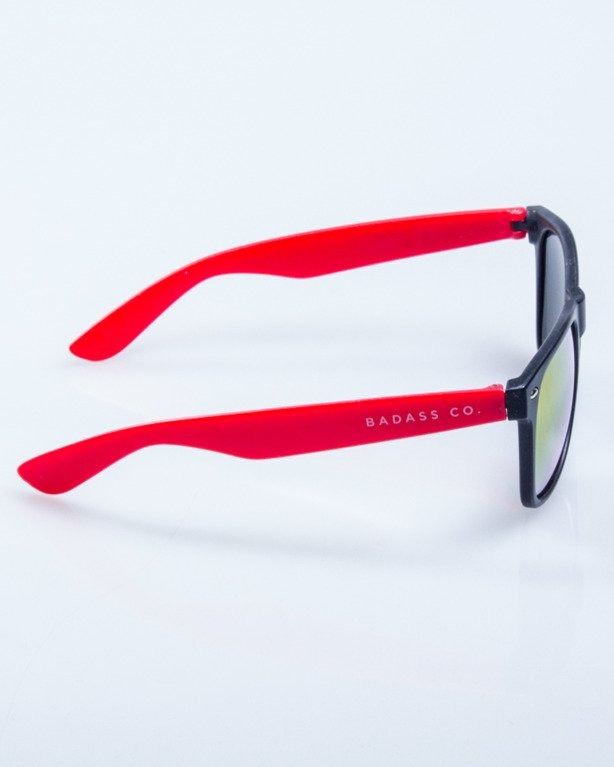 OKULARY CLASSIC HALF BLACK-RED MAT RED MIRROR 508