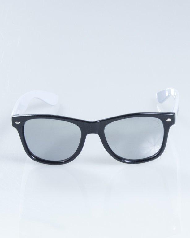 OKULARY CLASSIC HALF BLACK-WHITE FLASH SILVER MIRROR 831