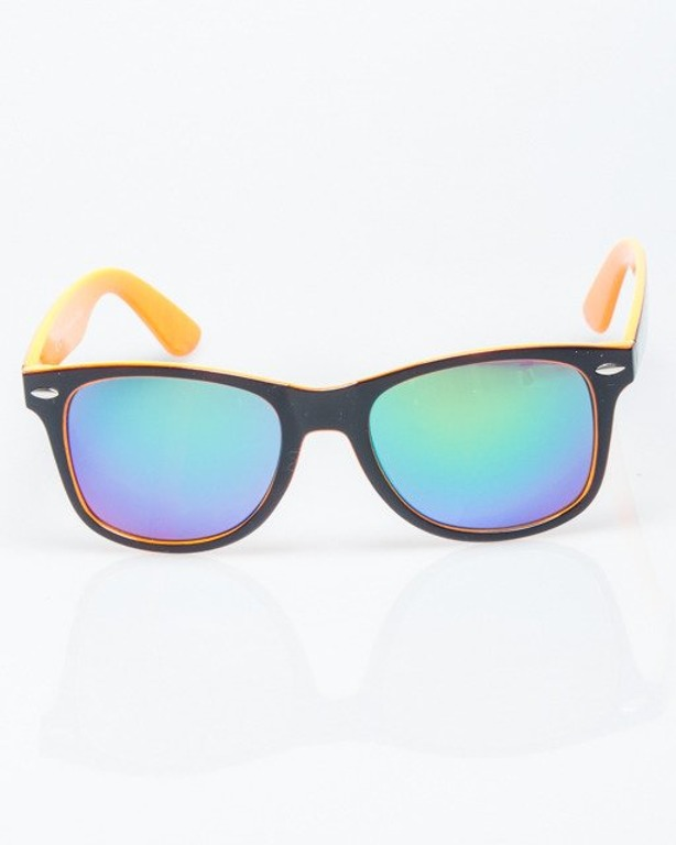 OKULARY CLASSIC INSIDE BLACK-ORANGE FLASH GREEN MIRROR 1201