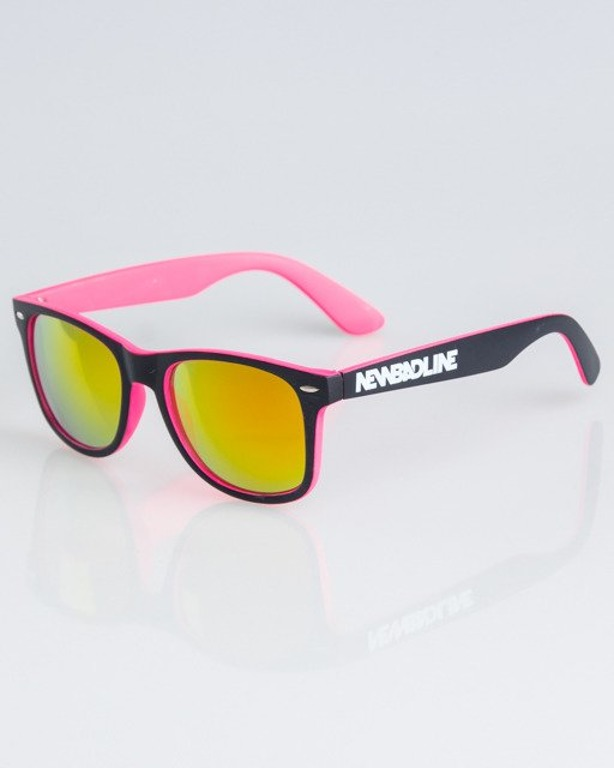 OKULARY CLASSIC INSIDE BLACK-PINK MAT RED MIRROR 1332