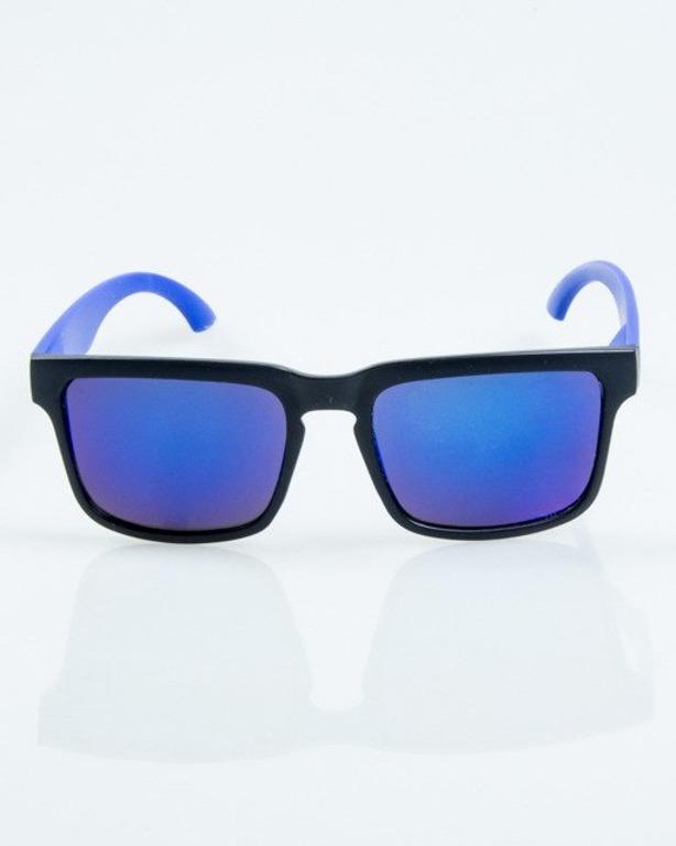 OKULARY CLASSIC MODERN BLACK-BLUE MAT BLUE MIRROR 1063