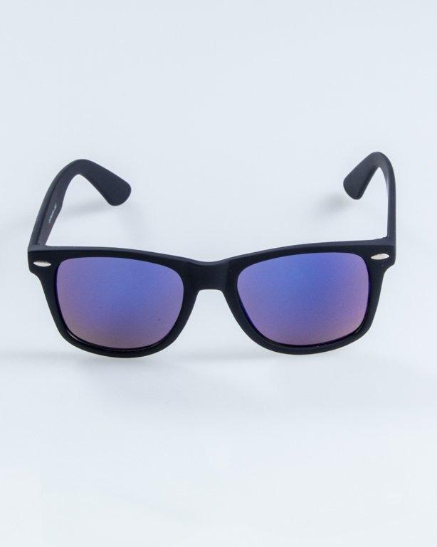 OKULARY CLASSIC RUBBER BLACK BLUE MIRROR 905