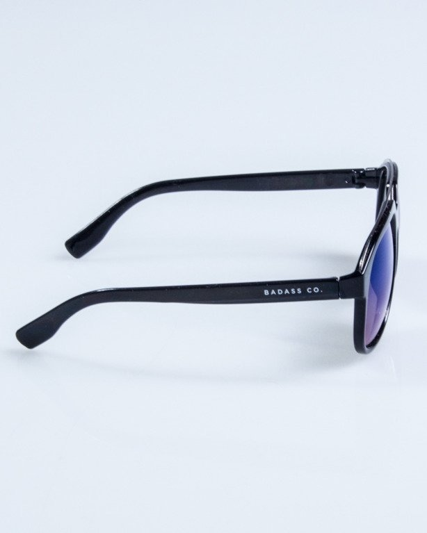 OKULARY ELEGANT  BLACK FLASH BLUE MIRROR 666