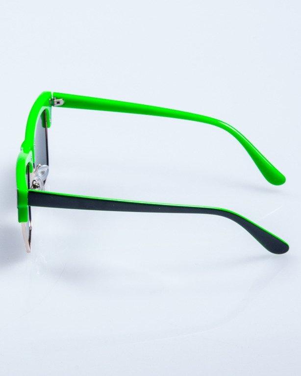 OKULARY FLAT BLACK-GREEN FLASH GREEN MIRROR POLARIZED 531
