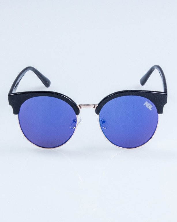 OKULARY LADY CAT BLACK BLUE MIRROR 731