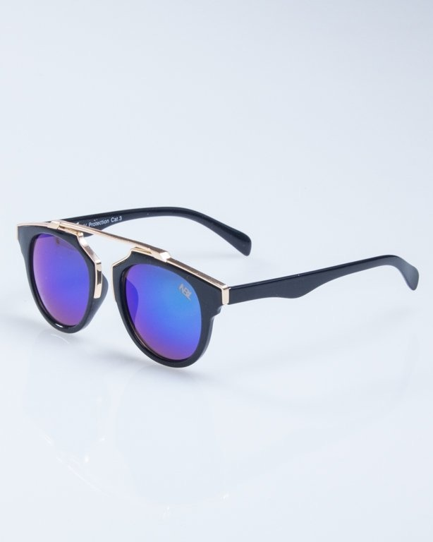 OKULARY LADY ROSH BLACK-GOLD GREEN MIRROR 926