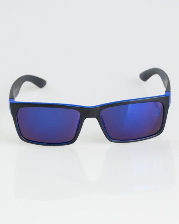 OKULARY MASSIVE BLACK-BLUE MAT BLUE MIRROR 1293