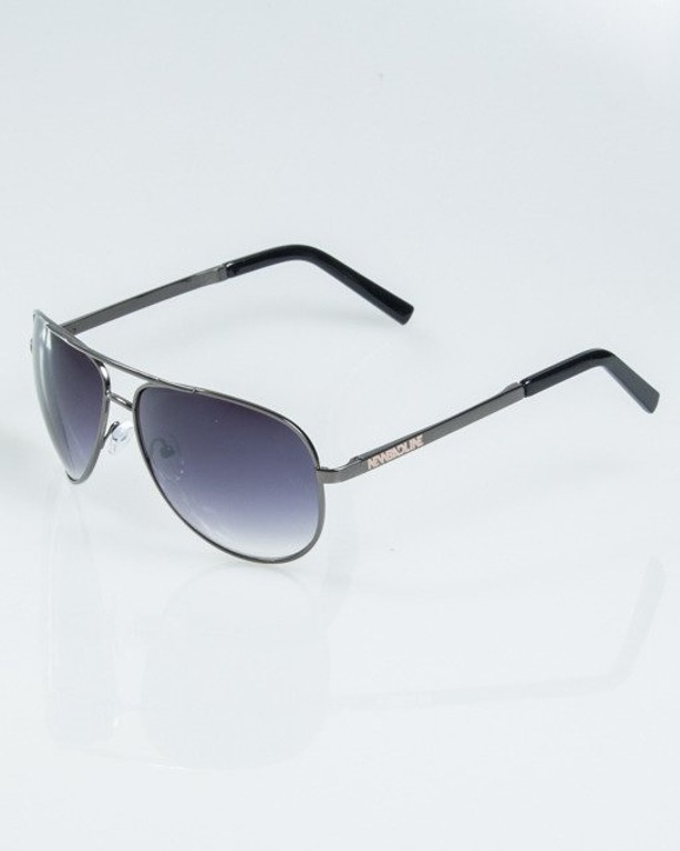 OKULARY METALIC GREY-BLACK METAL FLASH HALF BLACK 1171