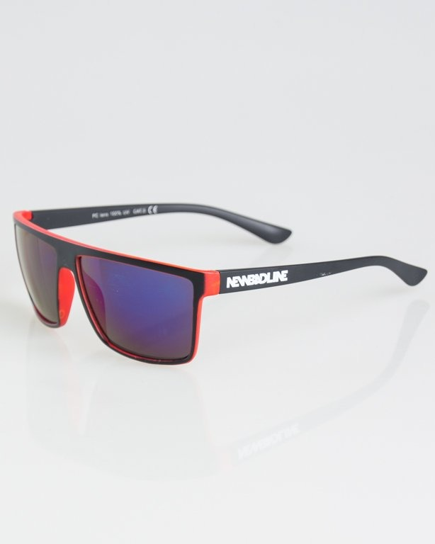OKULARY OFFENSIVE BLACK-RED MAT BLUE MIRROR 1294