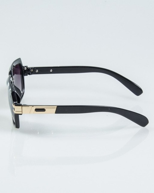 OKULARY RICH BLACK-GOLD METAL FLASH HALF BLACK 1129
