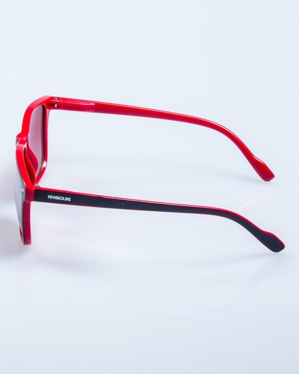 OKULARY SLIM BLACK-RED FLASH RED MIRROR 601