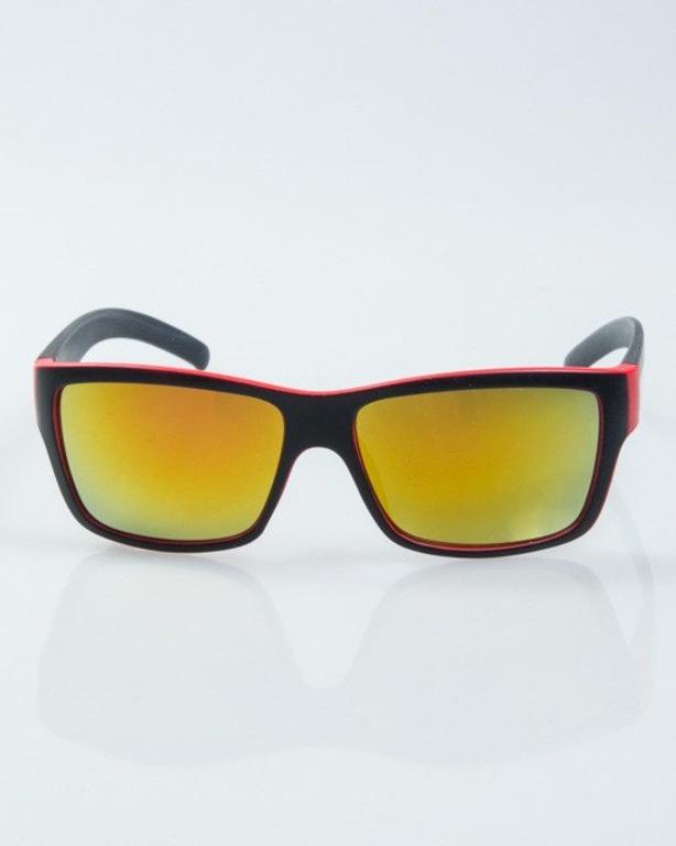 OKULARY SMOOTH BLACK-RED MAT RED MIRROR 1003