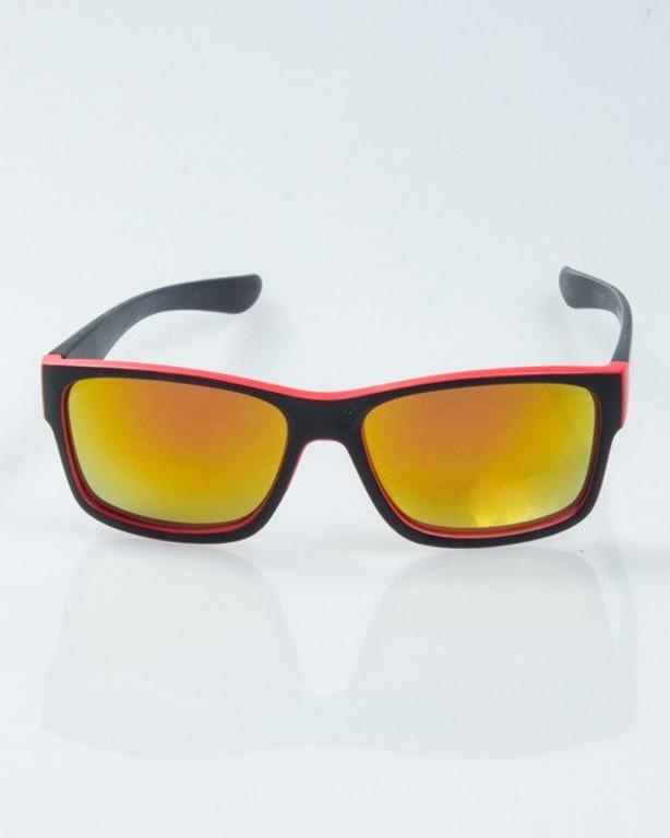 OKULARY SPEED BLACK-RED MAT RED MIRROR 1008