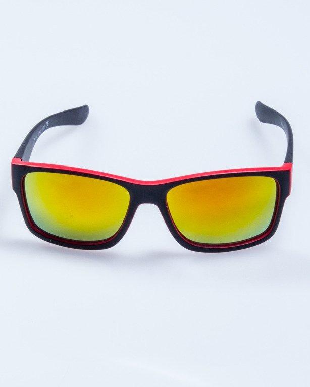 OKULARY SPEED BLACK-RED MAT RED MIRROR 574