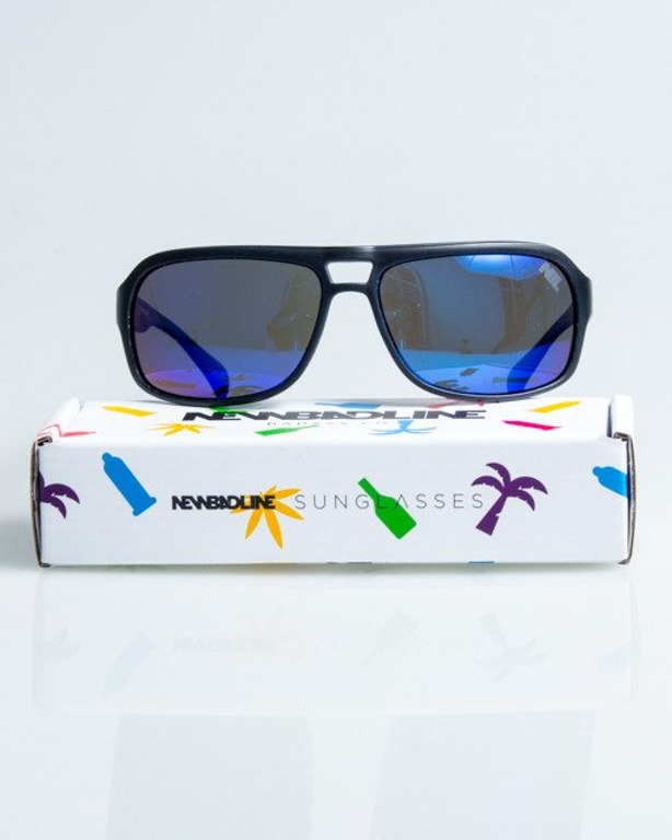 OLULARY SWANK BLACK MAT BLUE MIRROR POLARIZED 1076